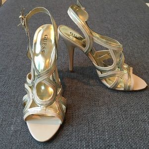 EUC Nude Guess Strappy heels 9